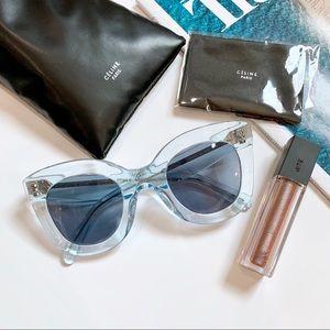 Celine Cat Eye Sunglasses NWOT Clear Blue Acetate